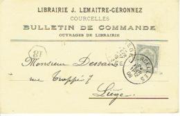 CP/PK Publicitaire COURCELLES 1908 - J. LEMAITRE-GERONNEZ - Librairie - Courcelles