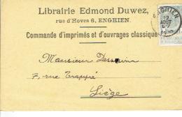 CP/PK Publicitaire ENGHIEN 1910 - EDMOND DUWEZ - Librairie, Ameublement Scolaire - Edingen