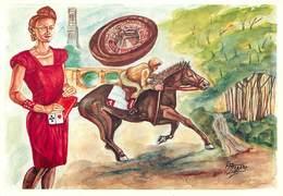 Illustrateur Ignace Mogere - Mederic -Enghien Les Bains- Femmes - Casino -Hippisme- Chevaux - Cartes à Jouer -Autographe - Illustratoren & Fotografen
