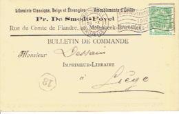 CP/PK Publicitaire MOLENBEEK 1910 - Pr. DE SMEDT-FOVEL - Librairie - Oblit. Flamme Exposition 1910 De BRUXELLES - St-Jans-Molenbeek - Molenbeek-St-Jean
