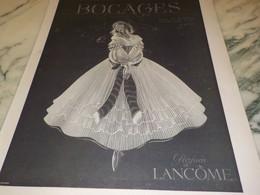 ANCIENNE PUBLICITE PARFUM  BOCAGE  DE LANCOME 1941 - Perfume & Beauty