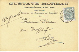 Postkaart Publicitaire SAINT-TROND 1910 - Header GUSTAVE MOREAU Te SINT-TRUIDEN - Uitgever-Boekhandelaar - Sint-Truiden