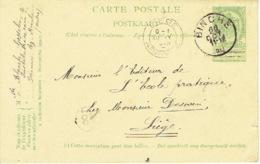 Entier Postal Armoiries BINCHE 1910 Vers LIEGE - Signé BLANCHE Gosselin Institutrice à PERONNES-LEZ-BINCHE - Stamped Stationery
