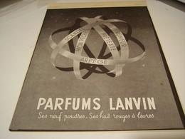 ANCIENNE PUBLICITE PARFUM  DE LANVIN 1941 - Perfume & Beauty