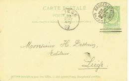 Entier Postal Armoiries BRUGES (STATION) 1902 Naar LIEGE - Getekend G. DEHAENE-BOSSUYT Boekhandelaar BRUGGE - Enteros Postales
