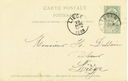 Entier Postal Armoiries SOTTEGEM 1895 Naar LIEGE - GetekendL. VEKEMAN Te ZOTTEGEM - Entiers Postaux
