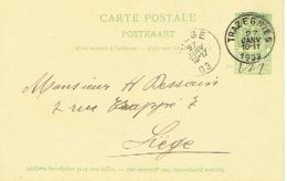 Entier Postal Armoiries TRAZEGNIES 1903 Vers LIEGE - Signé Fernand CORMANT à TRAZEGNIES - Enteros Postales