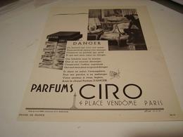 ANCIENNE PUBLICITE PARFUM  DANGER DE CIRO 1941 - Perfume & Beauty