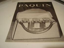 ANCIENNE PUBLICITE PARFUM PAQUIN 1941 - Perfume & Beauty