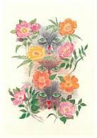 Illustrateurs - Illustrateur Monika - Enghien Les Bains - Fleurs - Chats - Chat - Cats - Cat - Autographe - Signature - Illustratoren & Fotografen