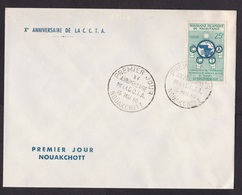 Mauritania: FDC First Day Cover, 1960, 1 Stamp, CCTA, African Cooperation, Logo (traces Of Use) - Mauritanië (1960-...)