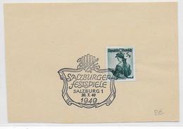 OBLITERATION ILLUSTREE (SONDERSTEMPEL) - AUTRICHE - 1949 - FESTIVAL MUSIQUE De SALZBOURG - 1945-60 Brieven