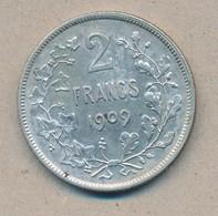 België/Belgique 2 Fr Leopold II 1909 Fr Morin 196 (119152) - 08. 2 Francos