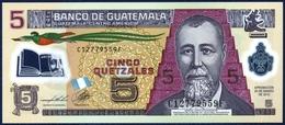 GUATEMALA 5 QUETZALES P-122d POLYMER 2013 UNC - Guatemala