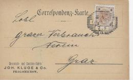 AK 0032  Correspondenz-Karte Graz 8. 4. 1897 - Chocolade & Canditen-Fabrik Joh. Kluge & Co. Prag-Smichow - Briefe U. Dokumente