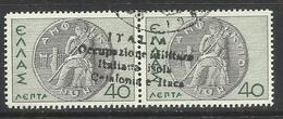 CEFALONIA E ITACA 1941 MITOLOGICA LEPTA 40 + 40L COPPIA ORIZZONTALE PAIR USATO USED OBLITERE' - Cefalonia & Itaca