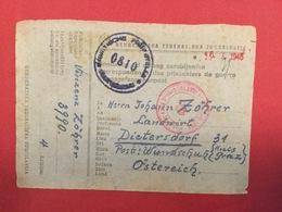 YUGOSLAVIAN PRISONERS CAMP FOR GERMAN SOLDIERS AFTER WWII. ,  KRIEGSGEFANGENPOST - PAZIN ISTRIA  ISTRA 1945. - Storia Postale