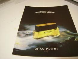 ANCIENNE PUBLICITE LE PARFUM HOMME  DE JEAN PATOU 1980 - Parfums & Beauté