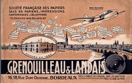 BUVARD SOCIÉTÉ FRANÇAISE DES PAPIERS SACS EN PAPIER  GRENOULLEAU LANDAIS A BORDEAUX - Papeterie