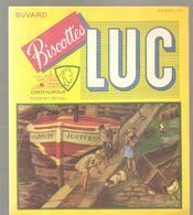 Buvard Biscottes LUC Bateau Et Enfants Sur Le Quai - Zwieback