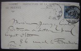 1897 Ernest Hendlé Préfet De La Seine Inférieure, Avec Carte De Visite Signée ! - Postmark Collection (Covers)