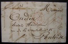 1841 Bureau Central + Port Payé En Rouge, Lettre Pour Pontoise, Voir Photos - 1801-1848: Précurseurs XIX