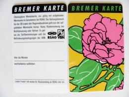 Plastic Transport Ticket Bus Tram From Germany Bremer Karte Flowers - Week-en Maandabonnementen