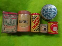 Lot De 6 Boites Metal Pub Berlingots-sulfo Thiorine-ceremaltine-ficelle Bessonneau-la Poule Au Pot-bledine - Publicité