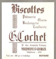 Buvard Biscottes COCHET 21 Avenue Anatolr France  Villeneuve Saint George - Zwieback