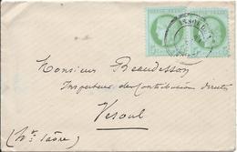 Lot N°44628  Deux N°53/enveloppe, Oblit Cachet à Date De ISSOUDUN, Indre (35), Du 29 Déc 1872 Pour VESOUL - 1871-1875 Ceres