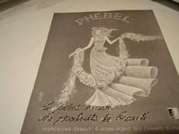 ANCIENNE PUBLICITE PHEBEL CREATRICE MARCELINE SEBALT 1940 - Perfume & Beauty