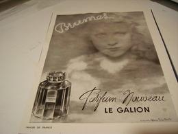 ANCIENNE PUBLICITE PARFUM LA BRUME DE LE GALION 1941 - Perfume & Beauty