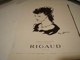 ANCIENNE PUBLICITE PARFUM   DE RIGAUD 1942 - Perfume & Beauty