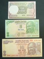 India 1, 5 E 10 Rupie Rupee - 3x Pcs Set UNC FDS - India