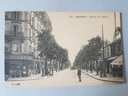 Ref 5742 CPA Animée Asnières Avenue De La Marne. Café, Saxoléine, épicerie Centrale. Nº141 - Asnieres Sur Seine