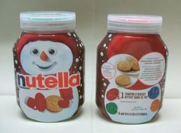 2 Pots De NUTELLA Vides Avec TAMPONS à BISCUITS Différents - Bonhomme De Neige Hiver Noël - Nutella
