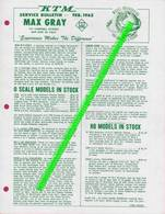 Catalogue MAX GRAY Supplement Sheet  Feb 1962 O & HO KTM Models In Stock - Customer Service Bulletin - Books And Magazines