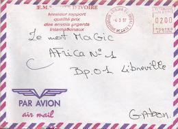 "Cote D'Ivoire Ivory Coast 1997 Abidjan 08 Post Office Meter Secap ""NE"" 93896 EMS Slogan EMA Cover - Ivoorkust (1960-...)"
