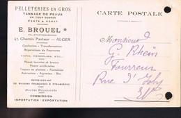 Pelleteries En Gros . Tannage De Peaux . E . Brouel .47 Chemin Pasteur . ALGER . 15 Février 1923 . - Publicidad