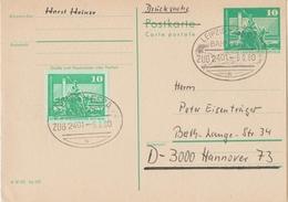"E 1796 Postkarte Zug Bahnpost ""LEIPZIG-GERA"" 1980 - DDR"