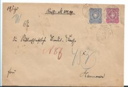 Kaiserreich XX003 / Pfennige 1876, 10 + 20 Pfg. Auf Geldbrief Von Wenningen (Hannoverstempel, Spätverwended) - Allemagne