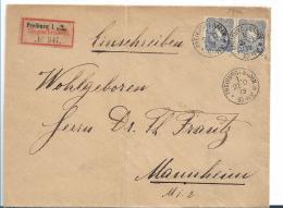 Kaiserreich XX004 / Pfennige 1879, 20 Pfg. Im Paar Auf Einschreiben. Freiburg Nach Mannheim - Allemagne