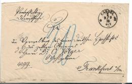 Kaiserreich XX005 / Portopflichtige Dienstsache, Unfrankiert 1879 Aus Kassel Nach Franlkfurt. Rückseitig Papiersiegel - Allemagne