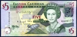 EASTERN CARIBBEAN 5 DOLLARS P-47 Queen Elizabeth II Admiral's House (Antigua), Trafalgar Falls (Dominica) 2008 UNC - Caraïbes Orientales