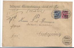 Kaiserreich XX007 / Krone/Adler, 10 + 20 Pfg. Geldbrief Aus Wilkau (Sachsen) 1894 Nach Niederzwönitz - Allemagne
