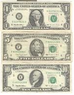 Lot De 3 Billets 1 , 5 , 10 Dollars états-unis / United States - Authentiques / Guenuines - Lots