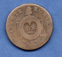 Sol Aux Balances  -  1793 D°  -- état B - 1789-1795 Monnaies Constitutionnelles