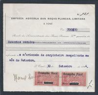 Recibo Roças Plancas Stamps Contribuição S.Tomé Príncipe Sobrecarga 'Estampilha Fiscal' E Taxa.Café.Kaffee.Coffee.1944.R - Portugal