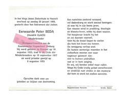 P 601. E.Pater BEDA (Hendrik CLAES) - Prof.-Emeritus EC. Hogeschool Limburg - °KOERSEL 1923 / +HASSELT 1989 - Images Religieuses