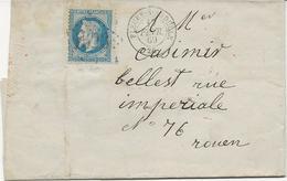 LETTRE AFFRANCHIEN° 29 OBLITERATION  CAD FLEURY SUR ANDELLE -EURE -1869 - Postmark Collection (Covers)